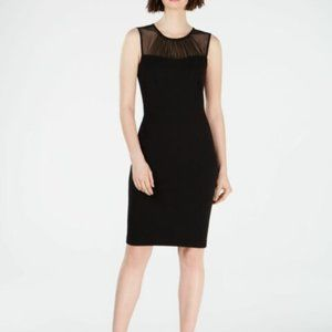 Calvin Klein Illusion Mesh Neckline Sleeveless Dress LBD